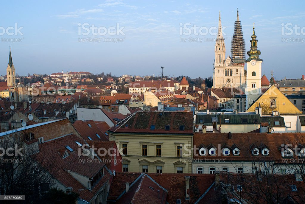 Zagreb Cathedral and the panorama of Zagreb. royalty-free stock photo
