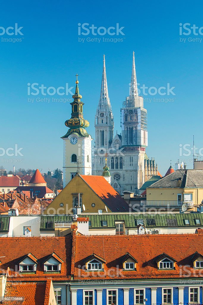 Zagreb cathedral, vertical view stock photo