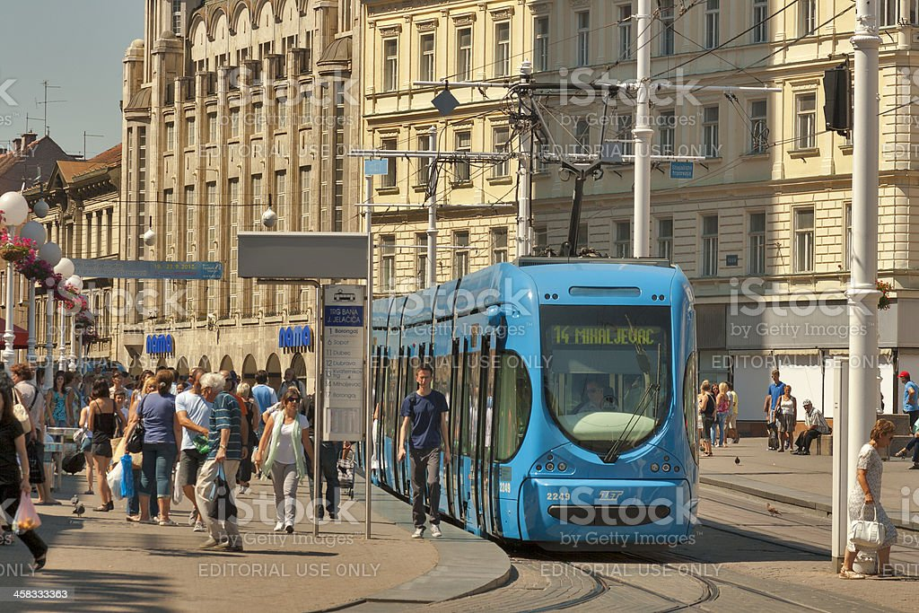 Zagreb central city square and tram stop royalty-free stock photo