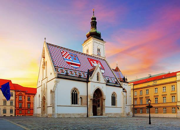 Iglesia St Mark de Zagreb - foto de stock