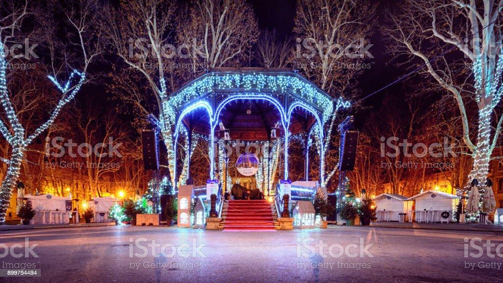 Christmas time in Zagreb Croatia with christmas lights and vivid...