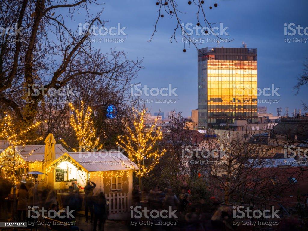 Zagreb Gornji Grad Advent with sky scraper