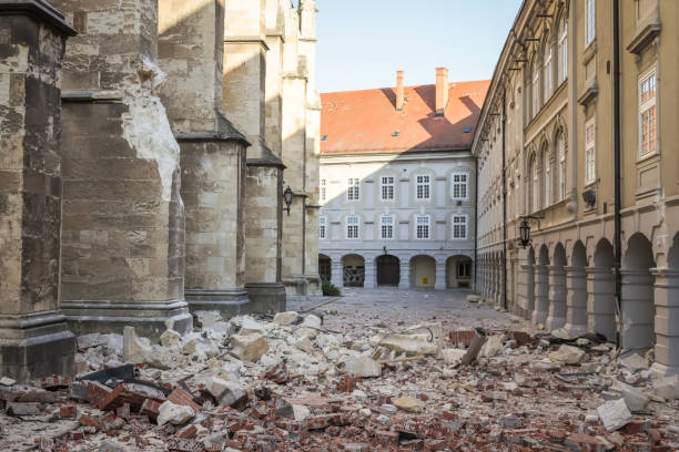 Zagreb hit by the earthquake damaged cathedral stock photo