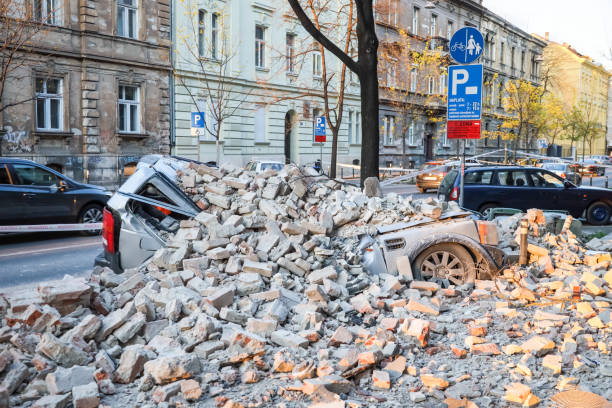Zagreb hit by the earthquake destroyed cars stock photo