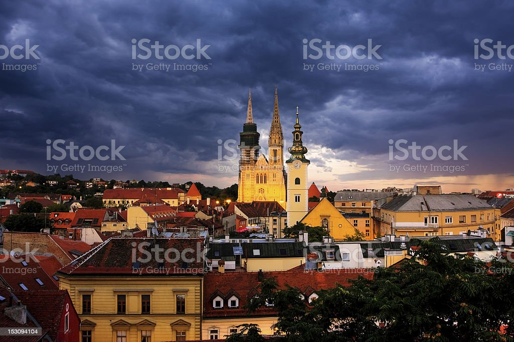 Zagreb in the twilight royalty-free stock photo