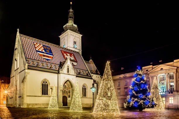 Zagreb night christmas time. Scenic view at upper town public square in Zagreb town, advent christmas time in Croatia, Europe. Long exposure. croatian culture stock pictures, royalty-free photos & images