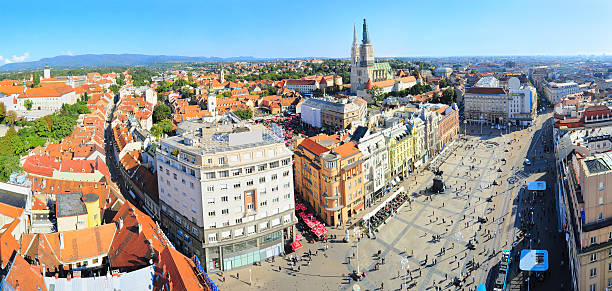 Zagreb skylie Panoramic view on Zagreb, Croatia brno stock pictures, royalty-free photos & images