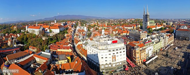 Zagreb with its landmarks including cathedral, Jelacic square, Kaptol, tower Lotrscak and cable car..