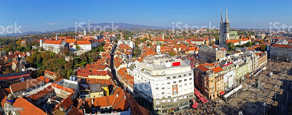 Zagreb skyline stock photo