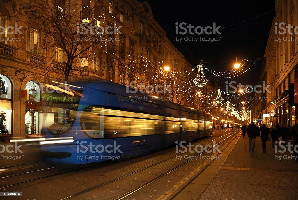 Zagreb Streets in Christmas, Croatia royalty-free stock photo
