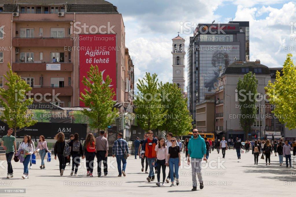 Zahir Pajaziti square in Pristina stock photo