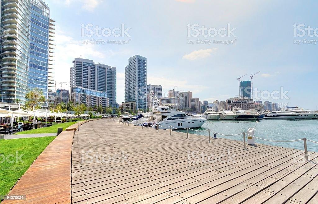 Zaitunay Bay in Beirut, Lebanon stock photo