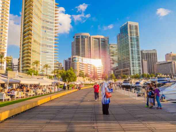 Zaitunay Bay promenade, Beirut, Lebanon stock photo