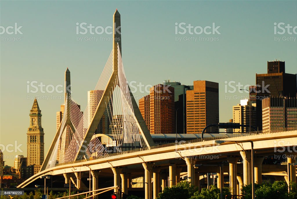 Zakim Bridge and the Boston Skyline stock photo