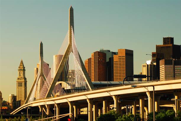 Zakim Bridge and the Boston Skyline stock photo