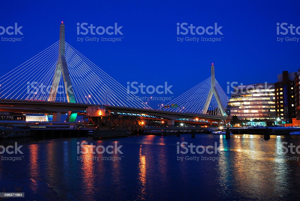 Zakim Bridge, Boston stock photo