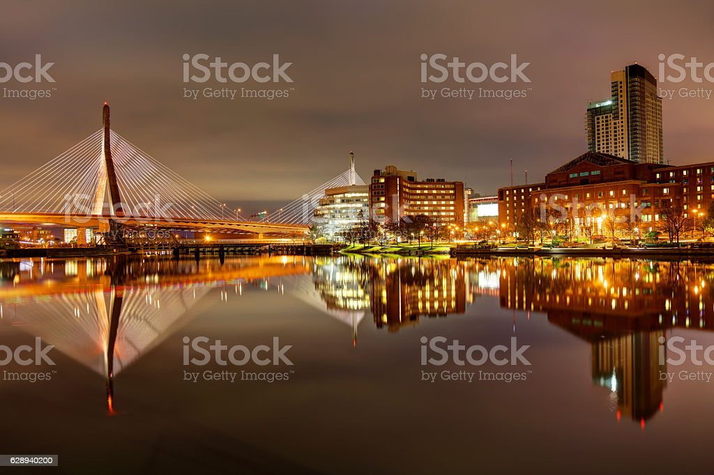 Zakim Bridge in Boston Massachusetts stock photo