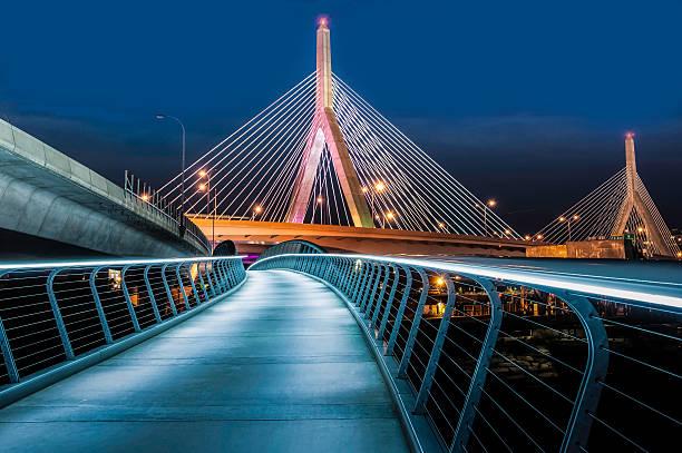 Zakim Bridge Walkway stock photo