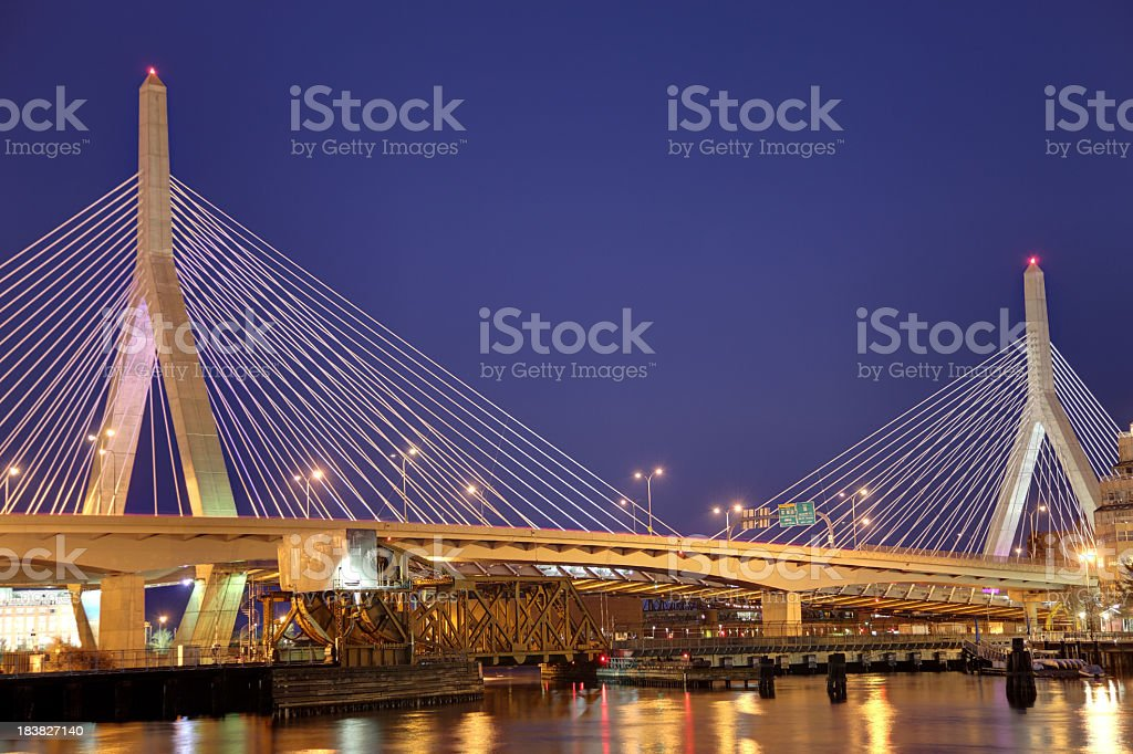 Zakim Bunker Hill Bridge stock photo