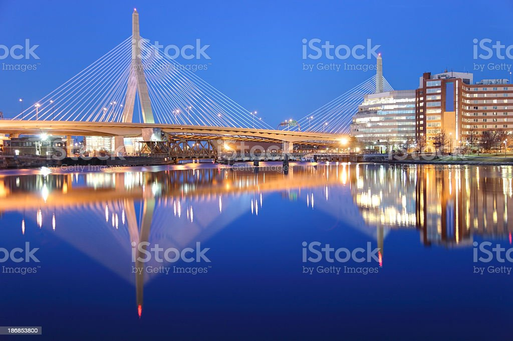 Zakim Bunker Hill Bridge royalty-free stock photo