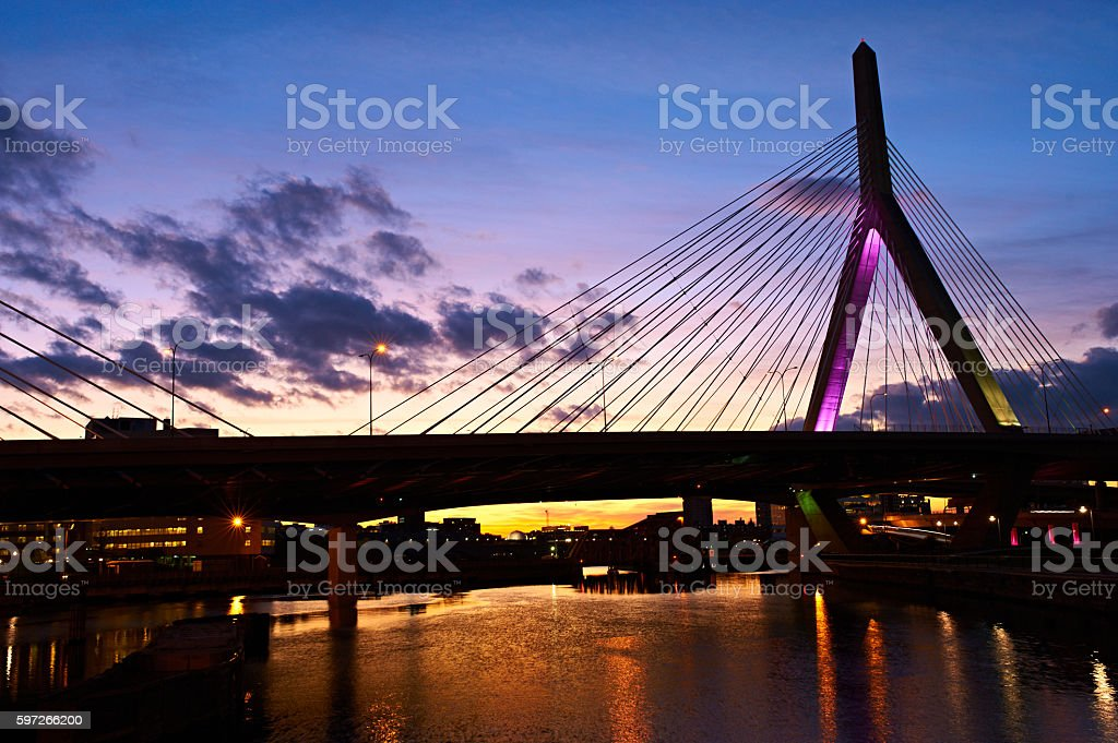 Zakim Bunker Hill Memorial Bridge at sunset royalty-free stock photo