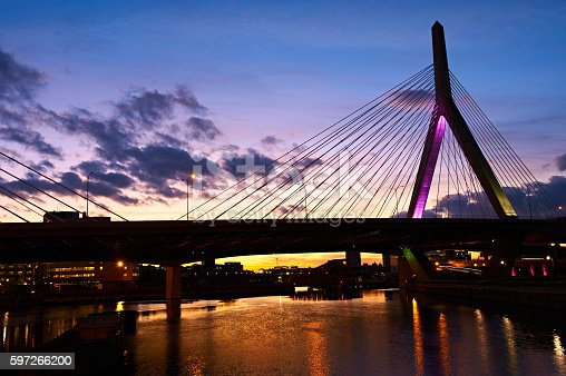 Zakim Bunker Hill Memorial Bridge At Sunset Stock Photo & More Pictures of American Culture