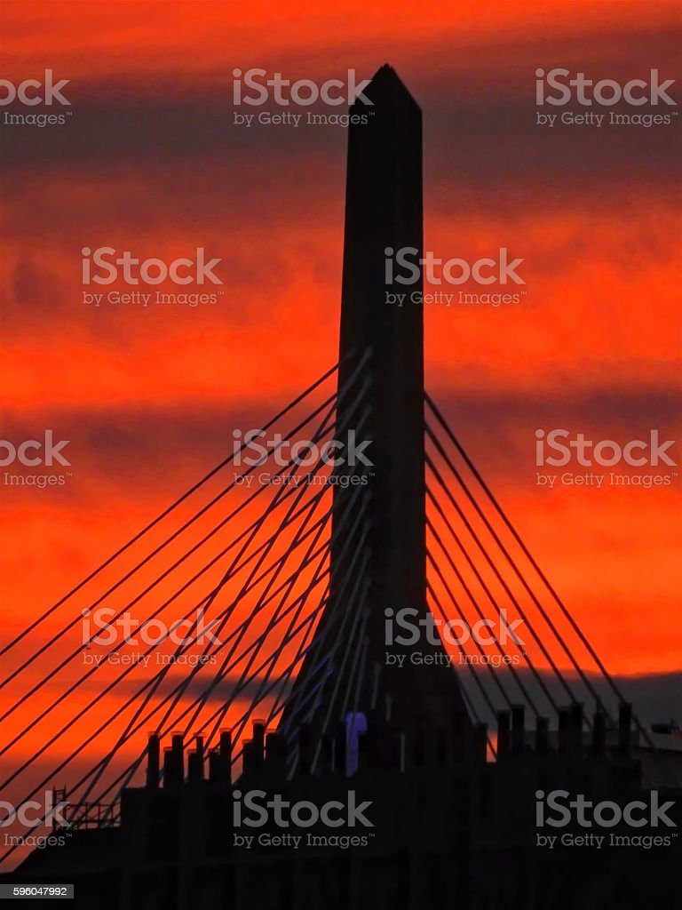 Zakim Supports at Sunset royalty-free stock photo