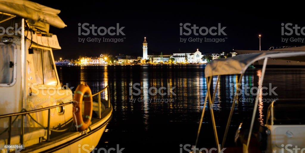 zakynthos at night stock photo