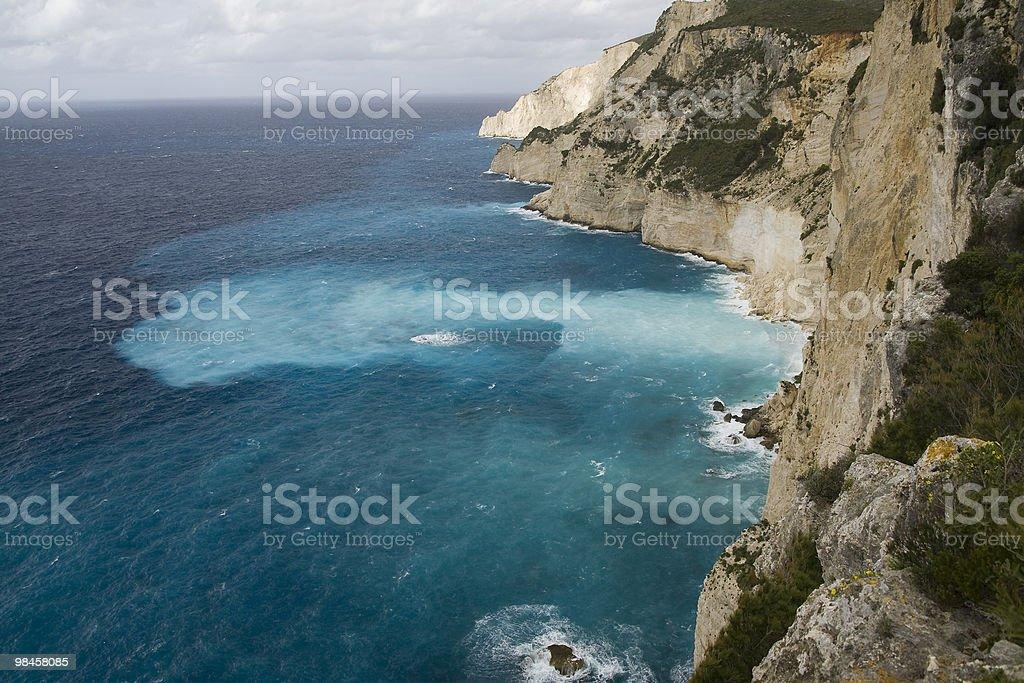 Zakynthos cliffs a stormy day royalty-free stock photo