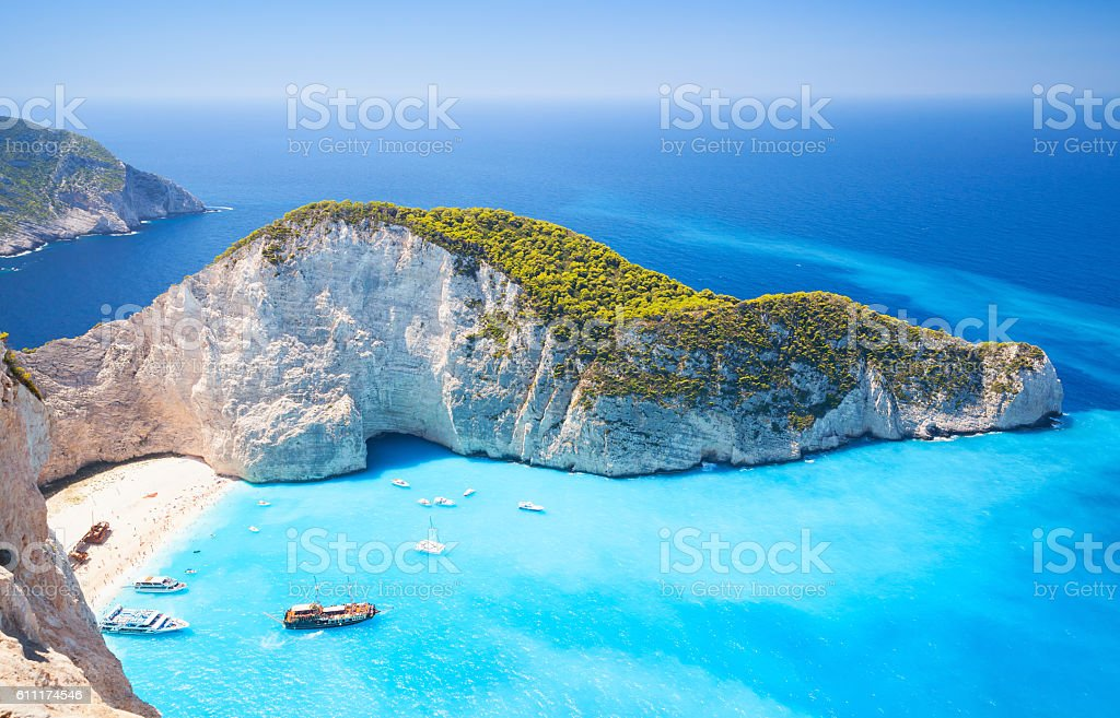 Zakynthos, Greek island, Navagio bay stock photo
