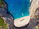 Aerial view of Zakynthos island, cave, beach, water.
