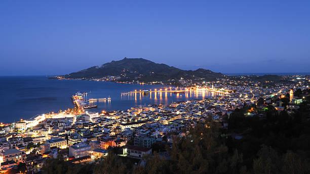 Zakynthos panorama over the capital city Zante Town at night stock photo