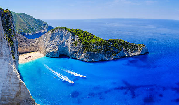 Zakynthos shipwreck beach. Navagio Bay panorama with no boats an stock photo
