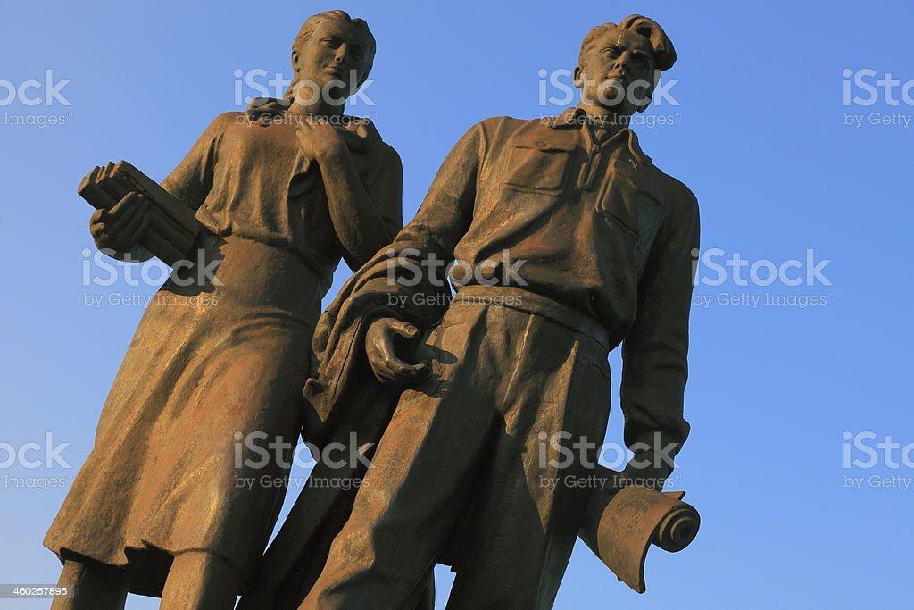 Zaliasis Tiltas Soviet Statues in Vilnius, Lithuania, Baltics stock photo