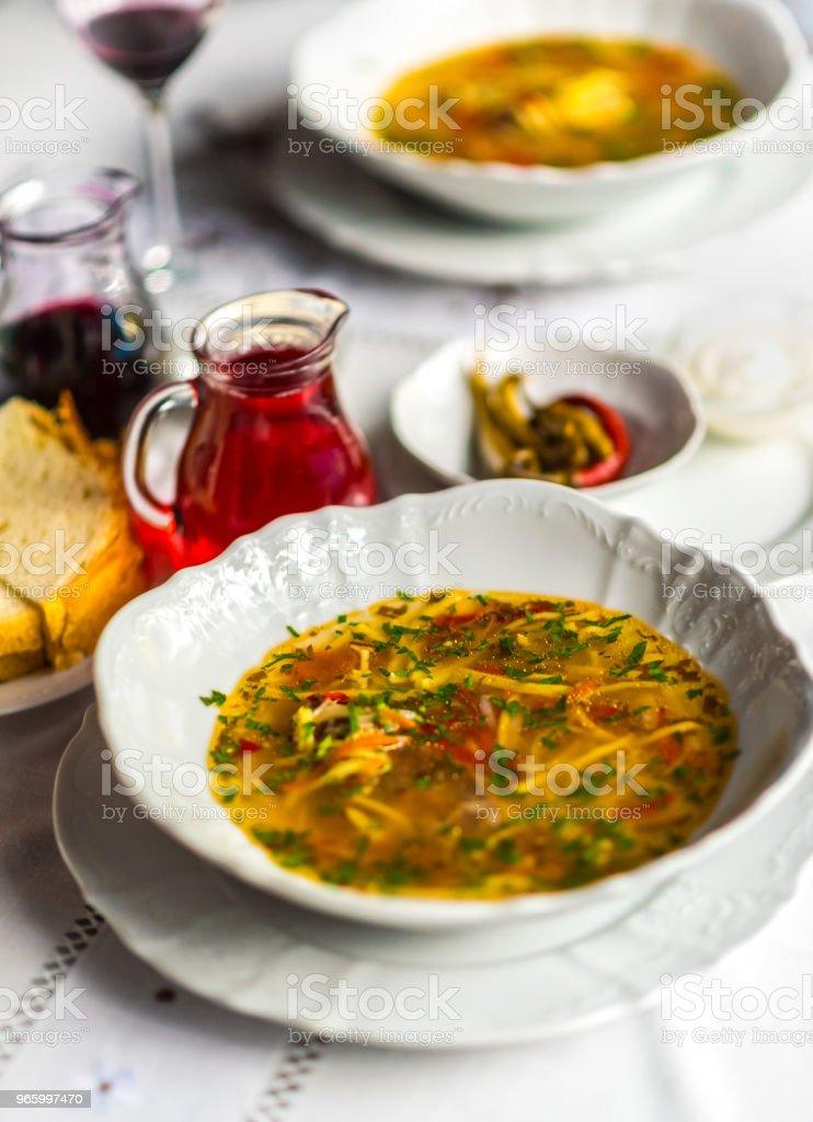 Zama, traditional romanian and moldavian chicken soup - Royalty-free Alimentação Saudável Foto de stock