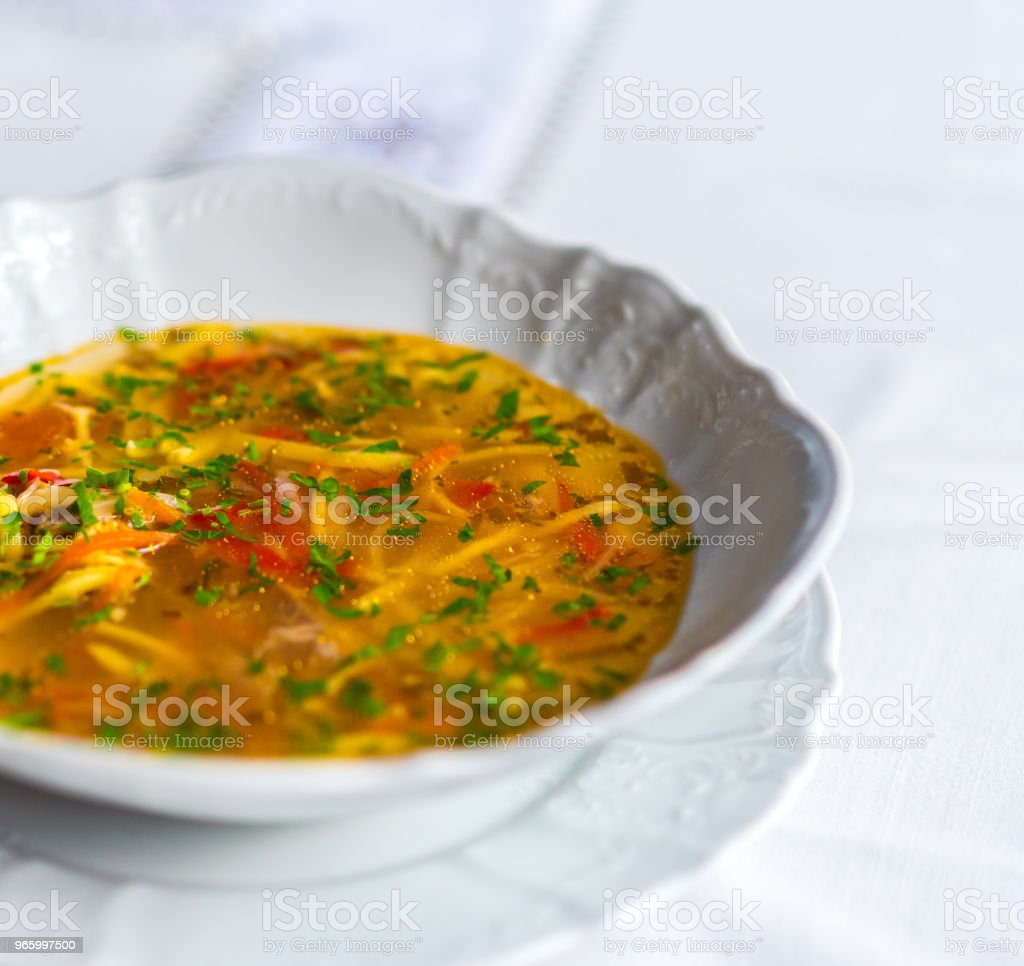 Zama, traditional romanian and moldavian chicken soup - Royalty-free Cup Stock Photo