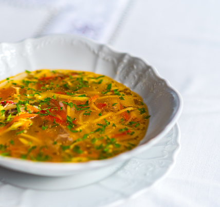 Zama Traditional Romanian And Moldavian Chicken Soup Stock Photo - Download Image Now