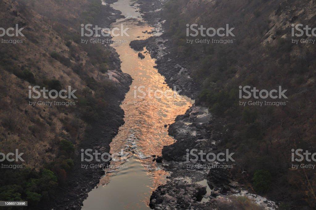 Zambesi river at sunrise from Gorges Lodge Zimbabwe stock photo