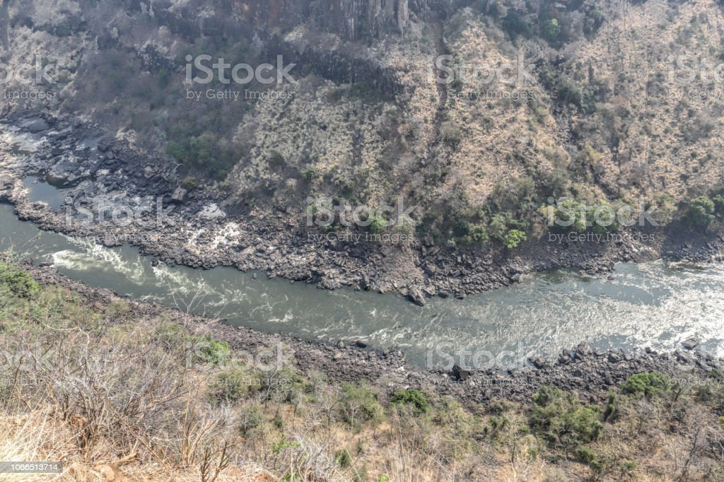 Zambesi river in the morning from Gorges Lodge Zimbabwe stock photo