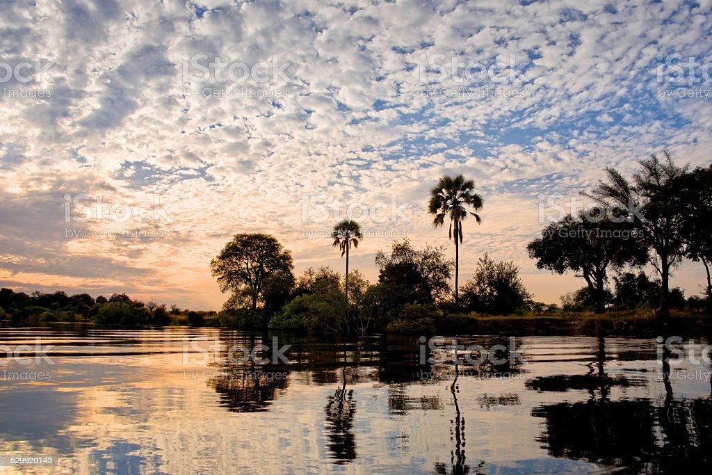 Zambeze river at sunset, Zambia stock photo