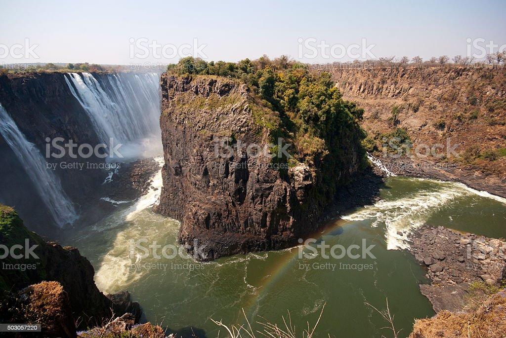 Zambezi river with Victoria Falls on the left, Zimbabwe stock photo