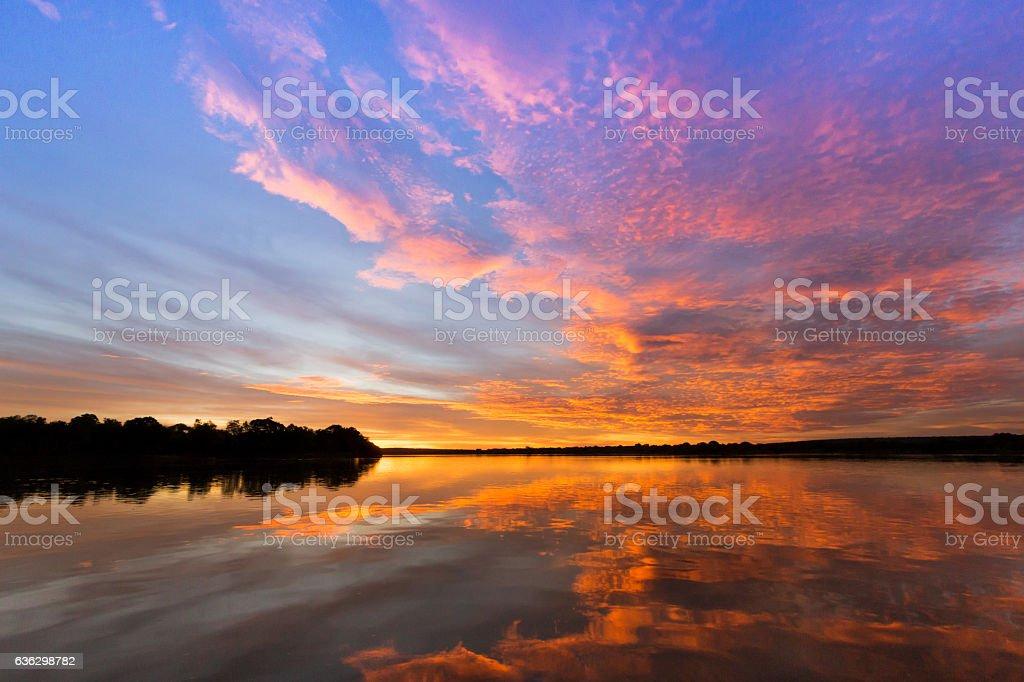 Zambezi Sunset, Matetsi, Zimbabwe stock photo