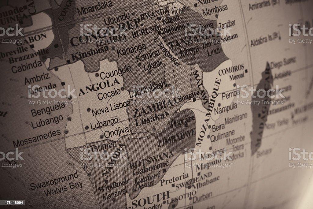 Zambia and Surrounding Countries stock photo