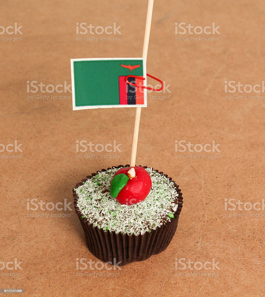 zambia flag on a apple cupcake stock photo