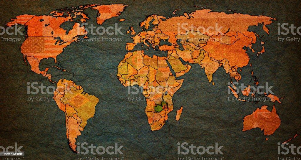 Zambia Flag On Old Vintage World Map Stockfoto und mehr Bilder von ...