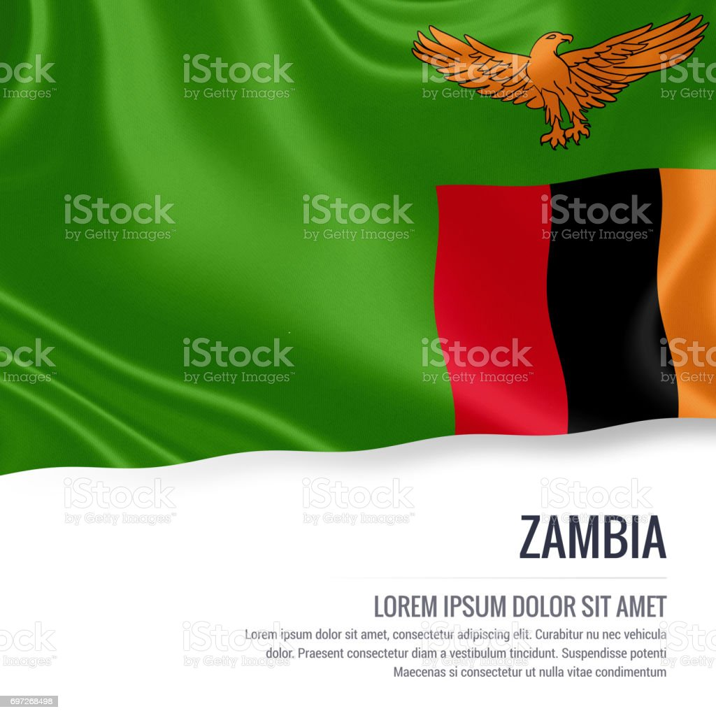 Zambia flag. Silky flag of Zambia waving on an isolated white background with the white text area for your advert message. 3D rendering. stock photo