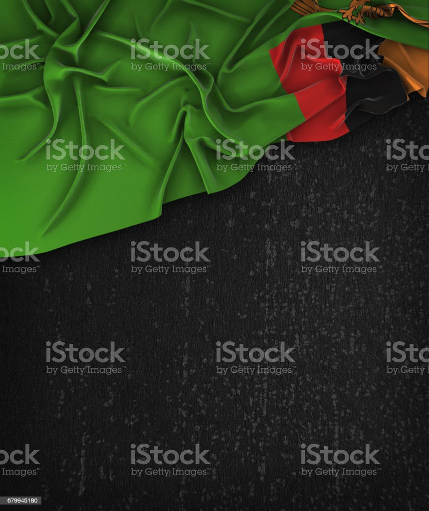 Zambia Flag Vintage on a Grunge Black Chalkboard With Space For Text stock photo