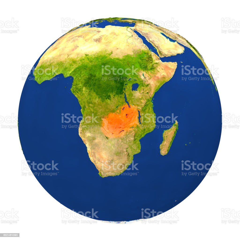 Zambia highlighted on Earth stock photo
