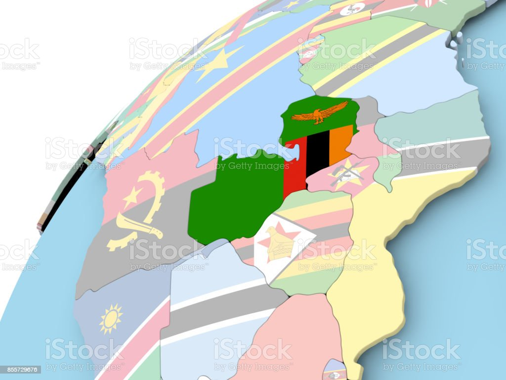 Zambia on globe with flag stock photo