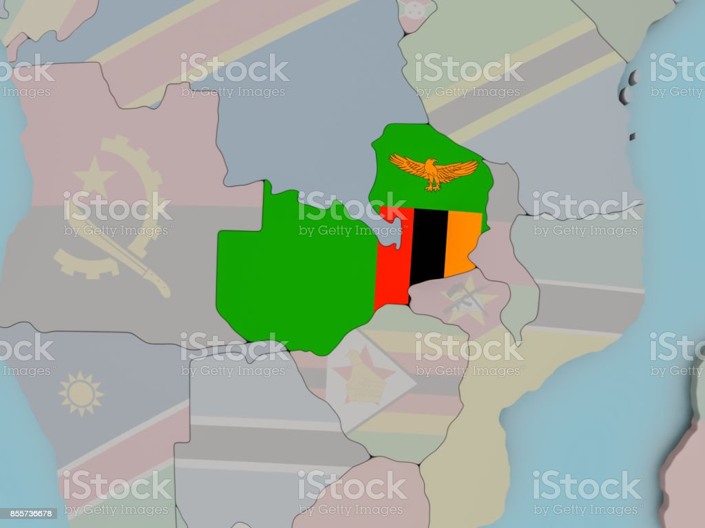 Zambia on political globe with flag stock photo